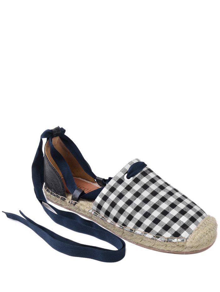 Stitching Tie Up Plaid Pattern Flat Shoes - CHECKED 40