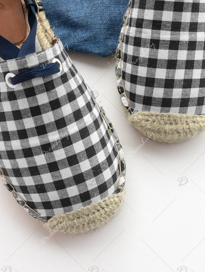 Stitching Tie Up Plaid Pattern Flat Shoes - CHECKED 37