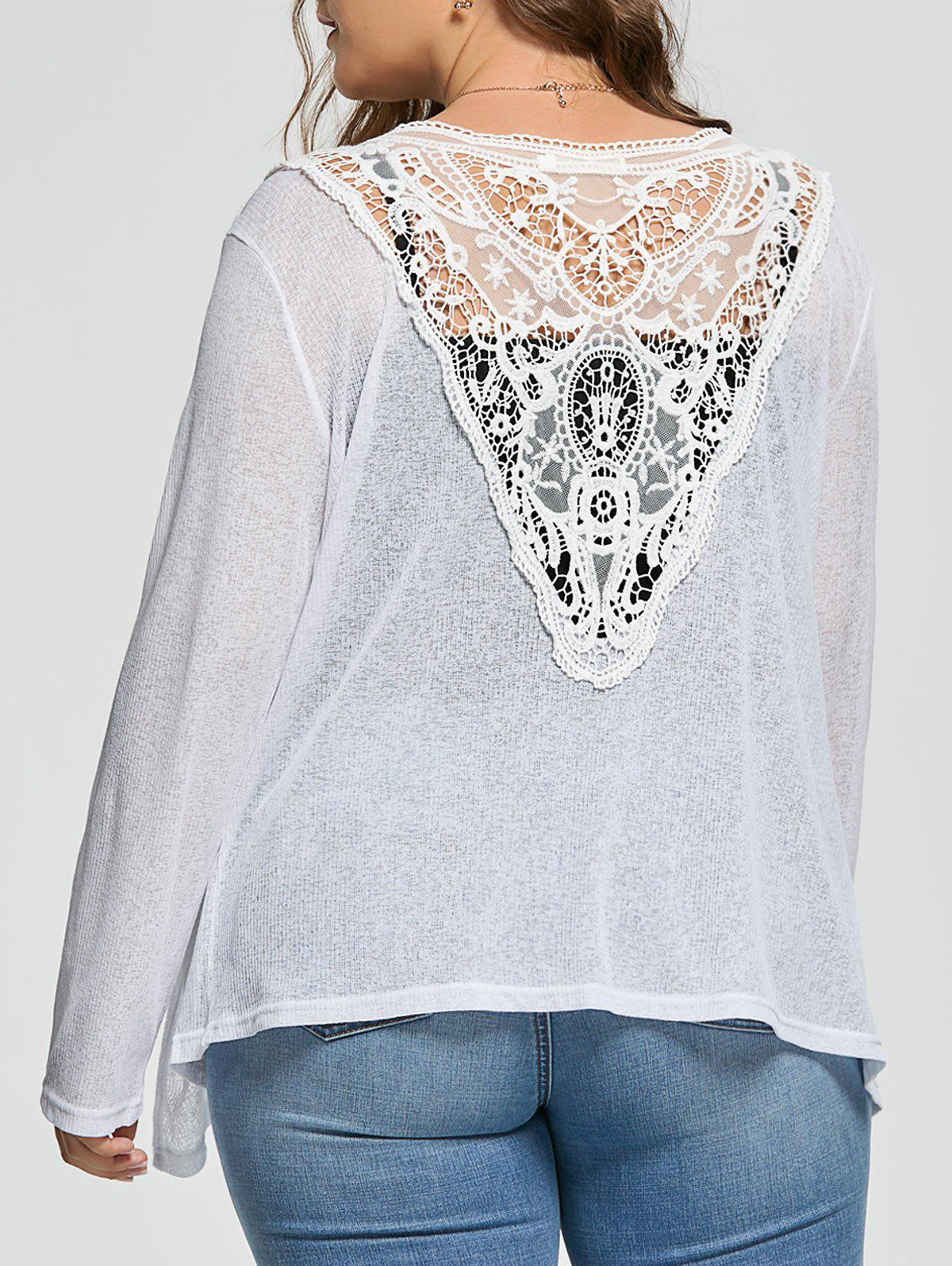 Back Lace Crochet Plus Size Ribbed Collarless Cardigan 220699202