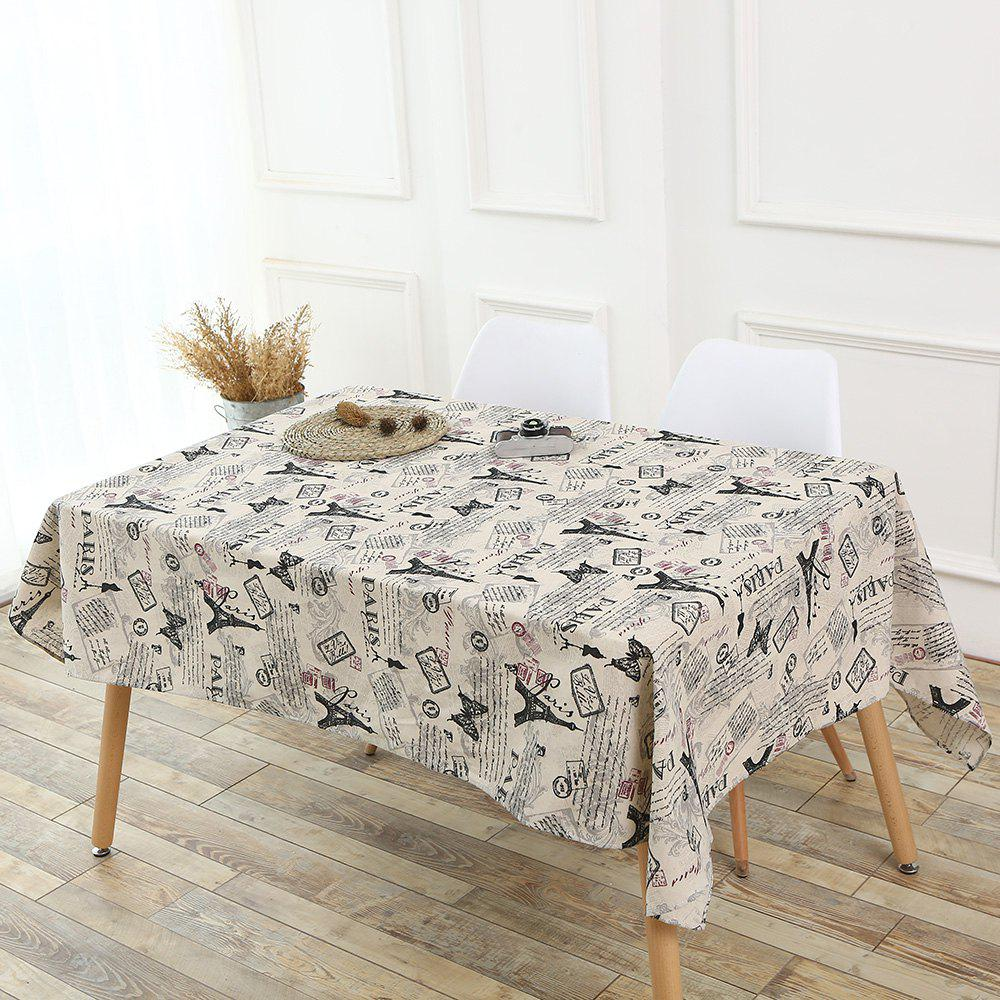 Kitchen Decor Tower Words Pattern Tablecloth - GRAY W55 INCH * L71 INCH
