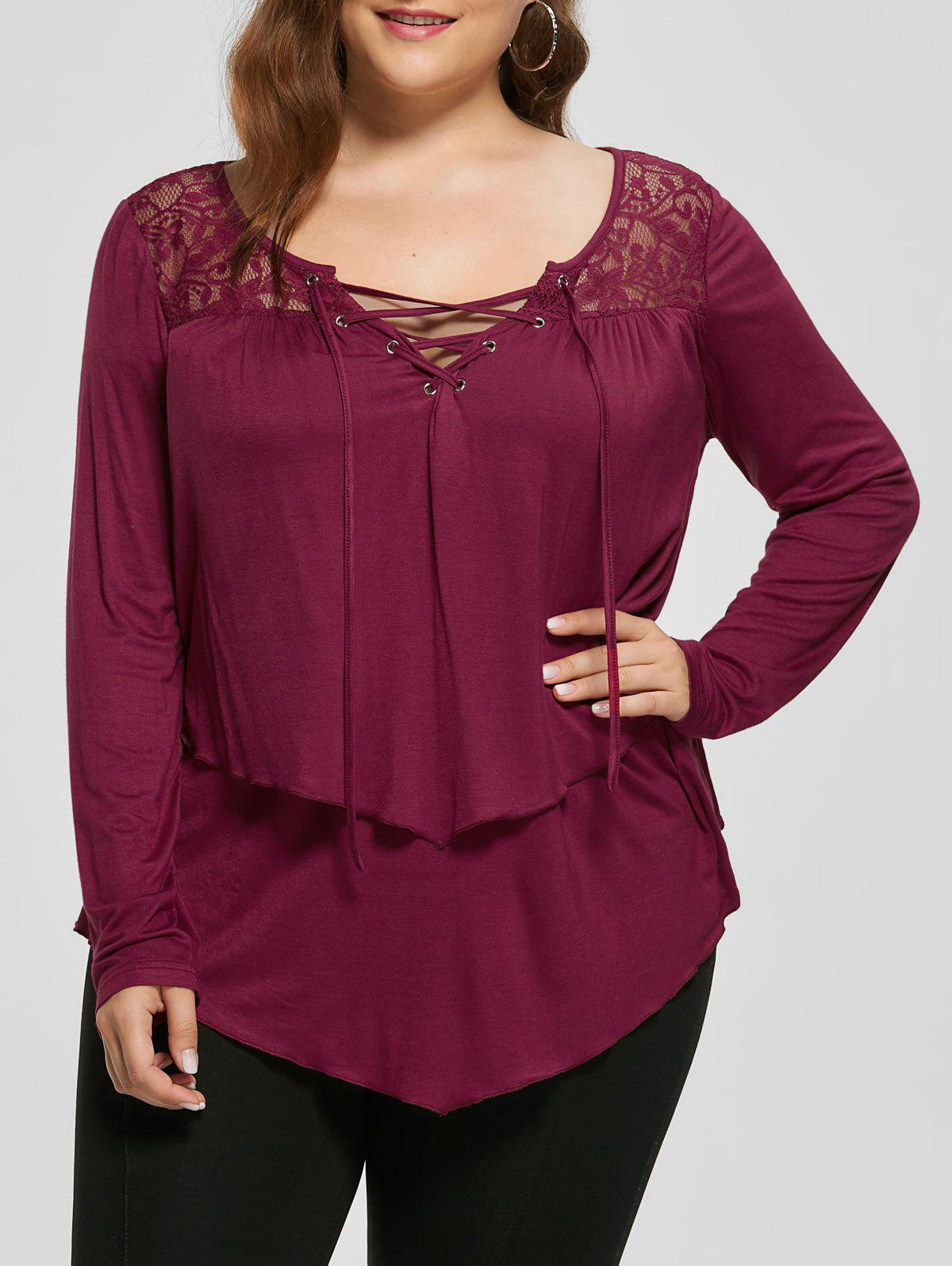Plus Size Lace Yoke Lace Up Top - PEARL AMARANTH 5XL