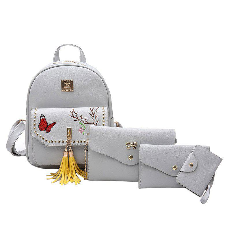 Embroidery Tassels Studded Backpack Set - GRAY