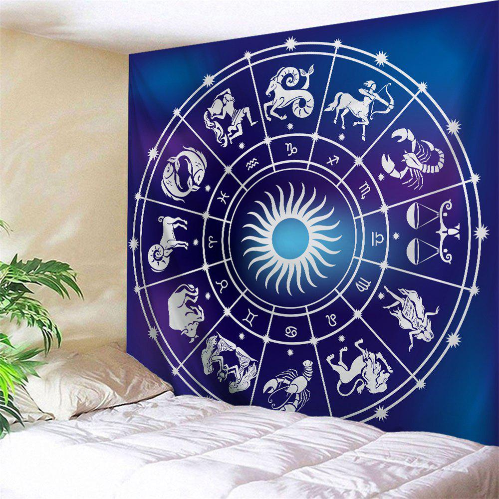 Zodiac Signs Print Tapestry Wall Hanging Art - BLUE W51 INCH * L59 INCH