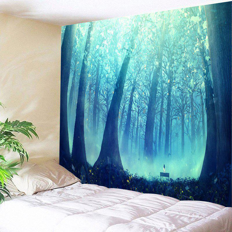 Sunlight Foggy Forest Hanging Wall Tapestry - BLUE/BLACK W59 INCH * L51 INCH