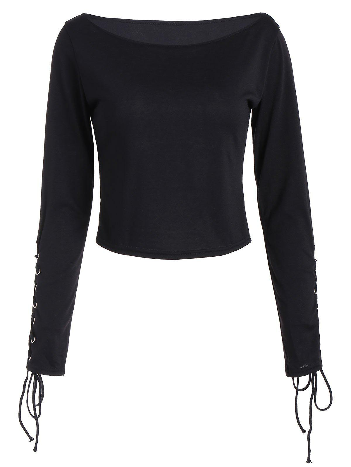 Long Sleeve Cropped Top with Lace Up - BLACK XL