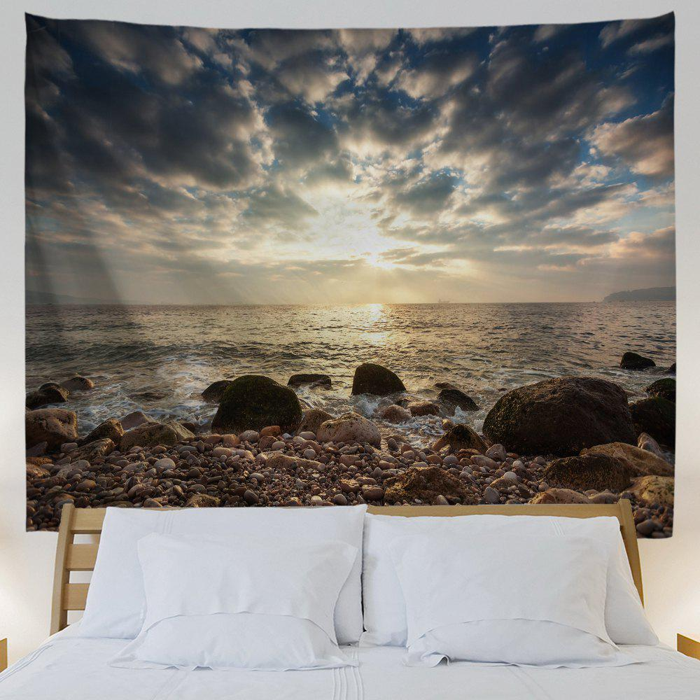 Stone Beach View Print Tapestry Wall Hanging Art - COLORMIX W71 INCH * L91 INCH