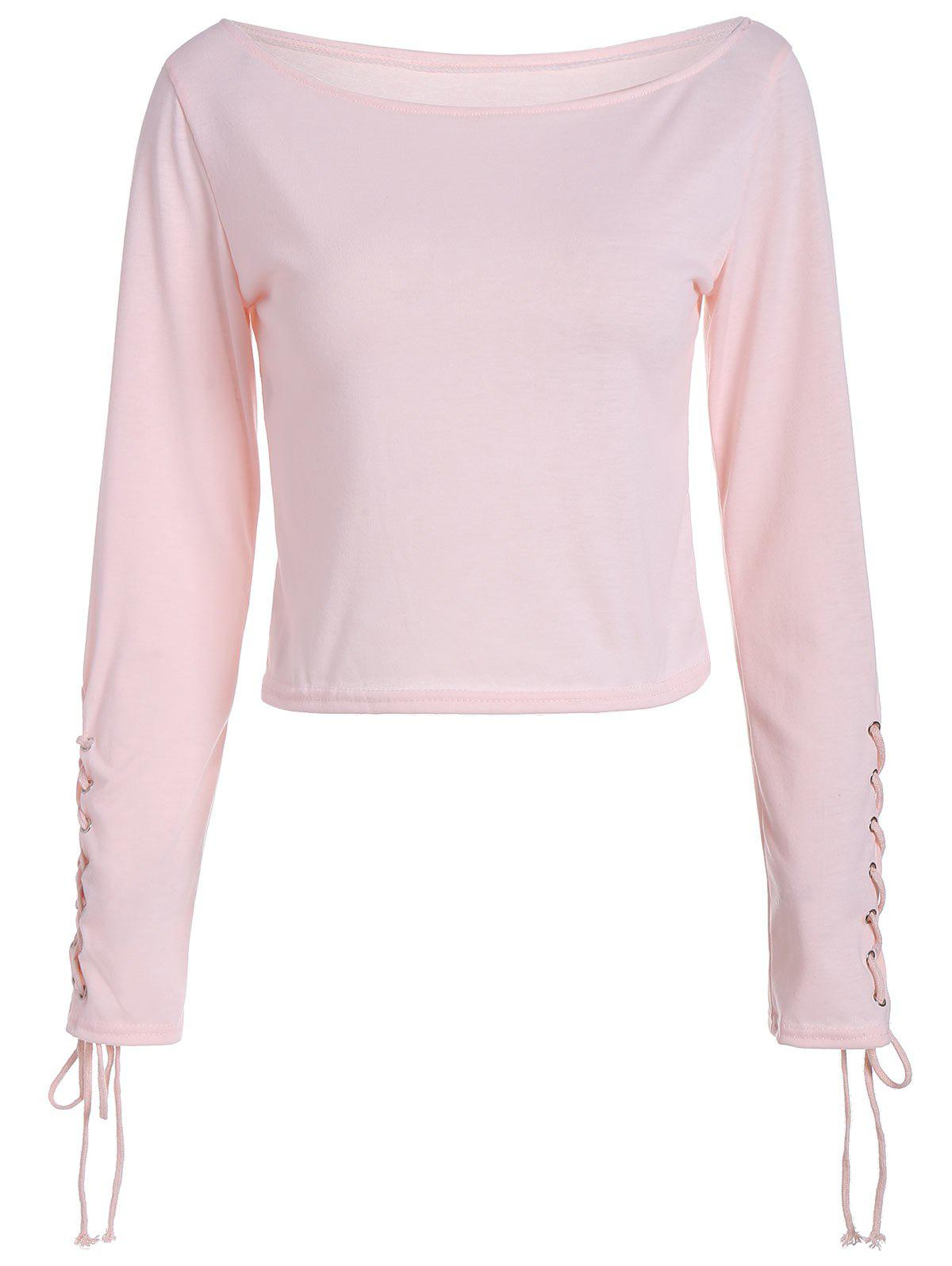 Long Sleeve Cropped Top with Lace Up - LIGHT PINK L