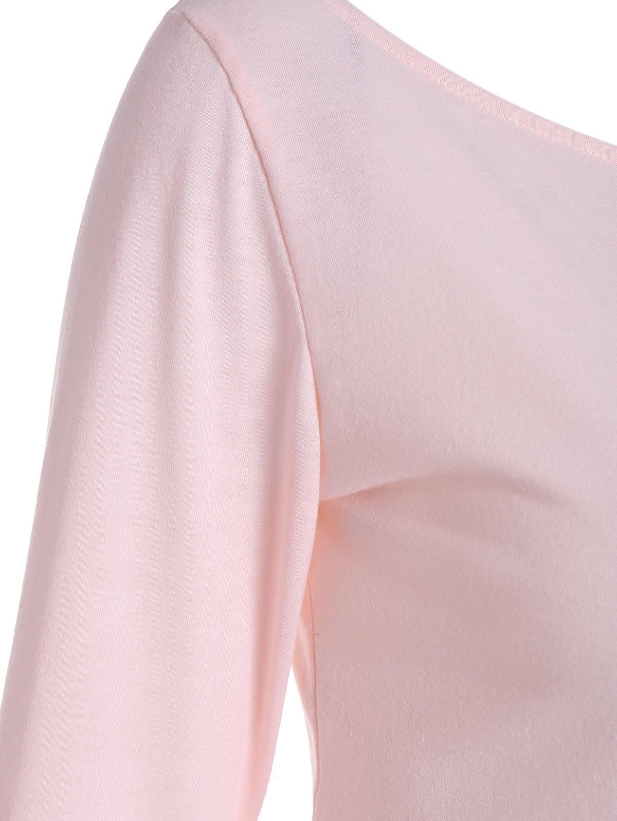 Long Sleeve Cropped Top with Lace Up - LIGHT PINK M