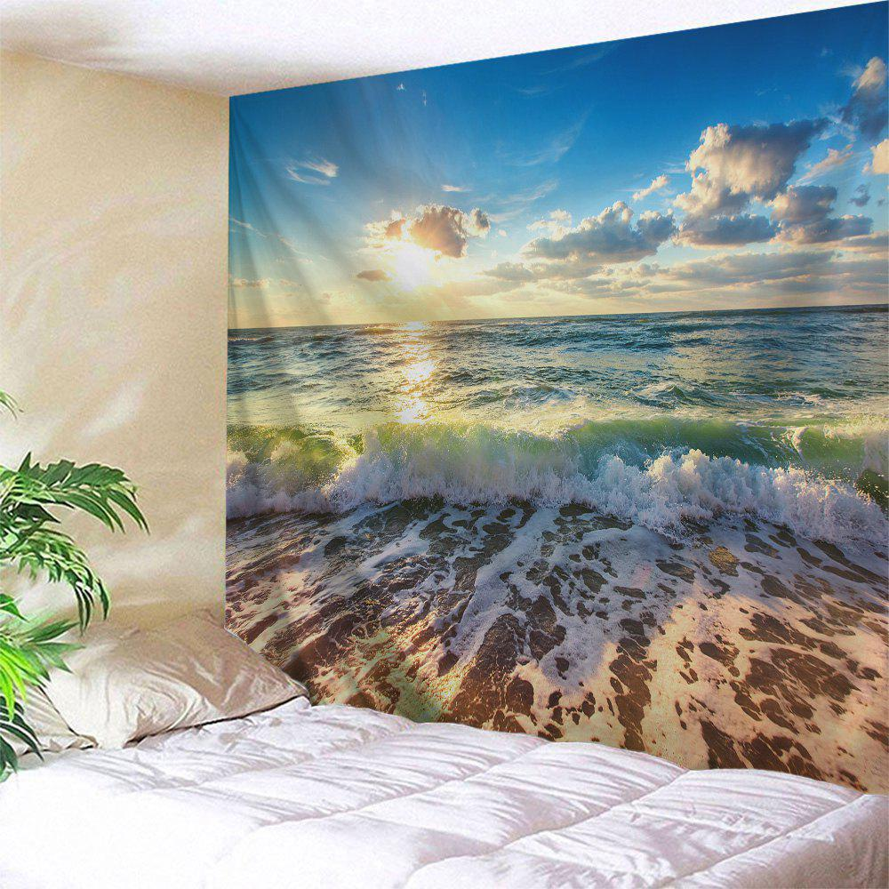 Beach Waves Print Tapestry Wall Hanging Art - COLORMIX W71 INCH * L79 INCH