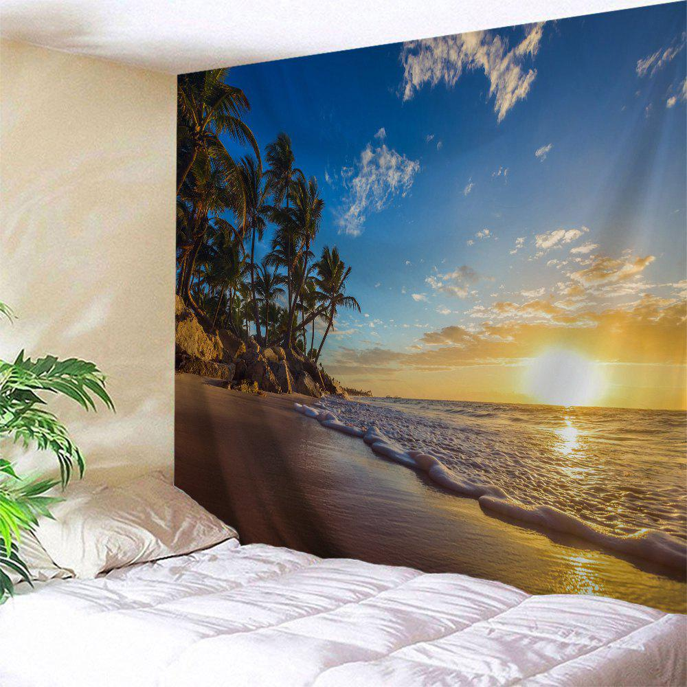 Sunrise Beach Trees Print Tapestry Wall Hanging Art - COLORMIX W71 INCH * L91 INCH