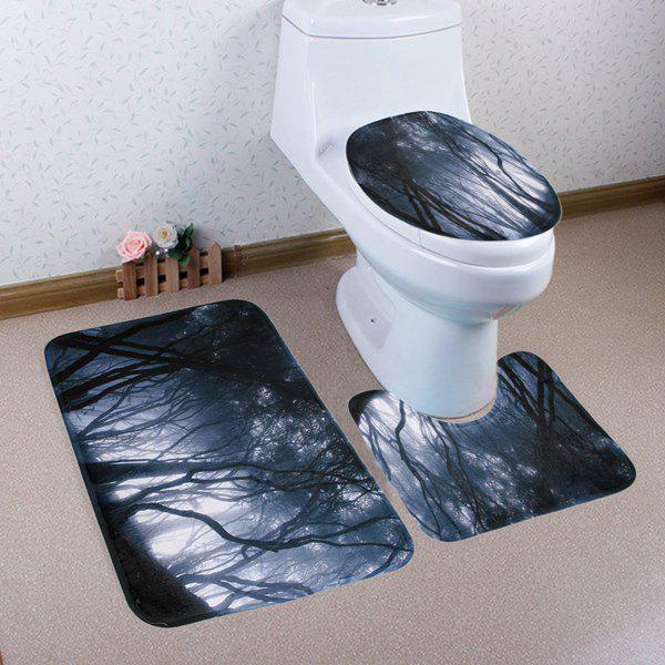Misty Forest Non-slip 3 Pieces Tapis de toilette Set - Gris Noir
