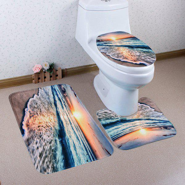 3PCS Non Slip Sunset Beach Bathroom Rugs Set   COLORMIX