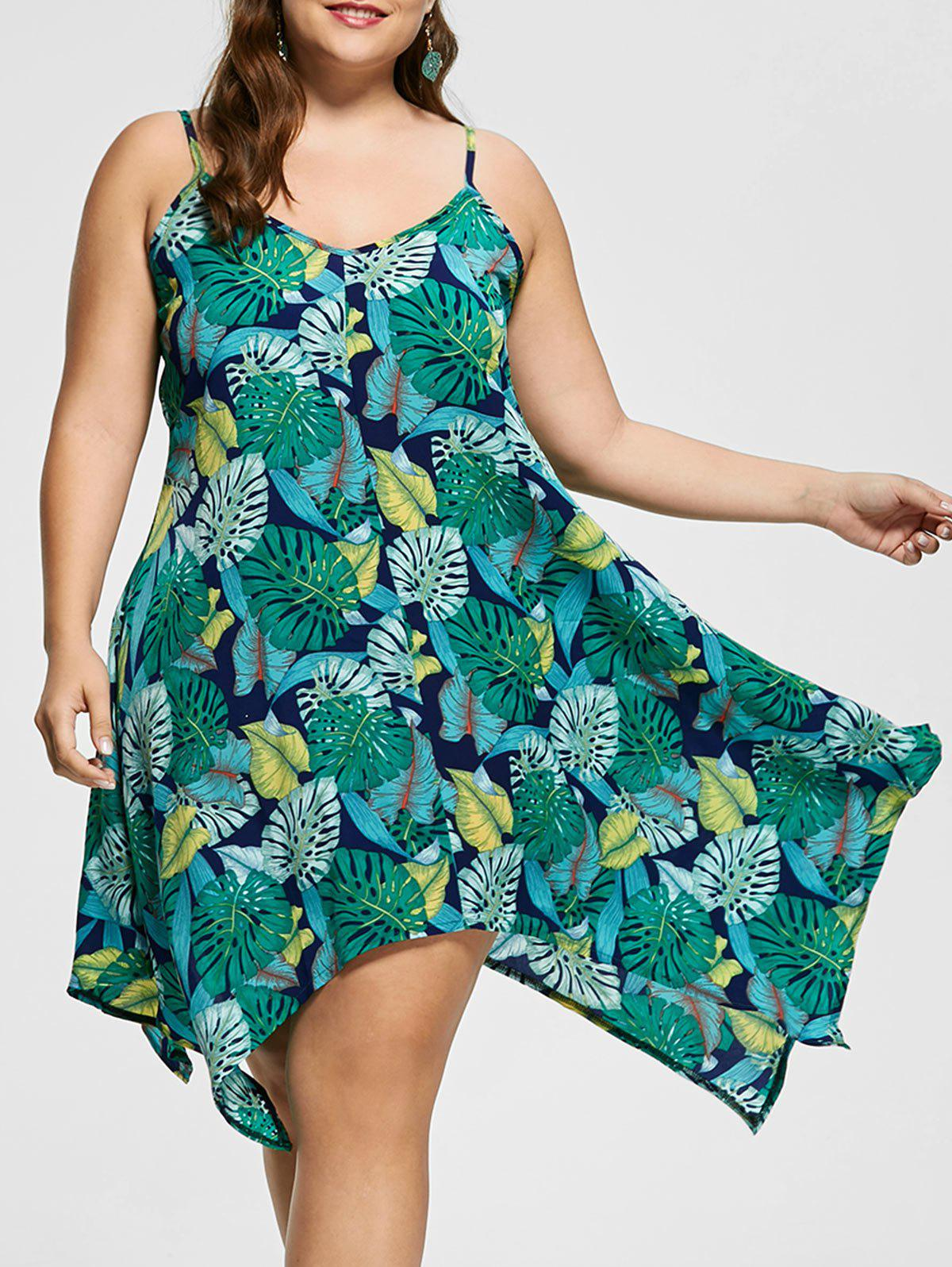 Tropical Print Spaghetti Strap Plus Size Handkerchief Dress - multicolorCOLOR 4XL