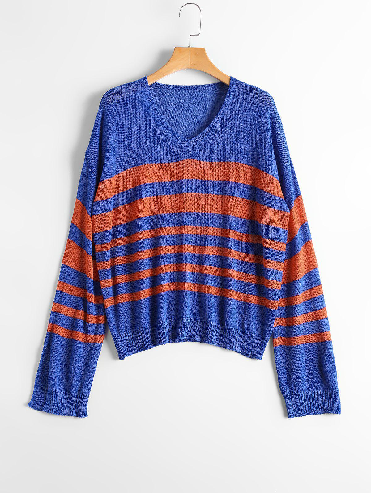 V Neck Striped Slit Sleeve Sweater - Bleu et Rouge ONE SIZE