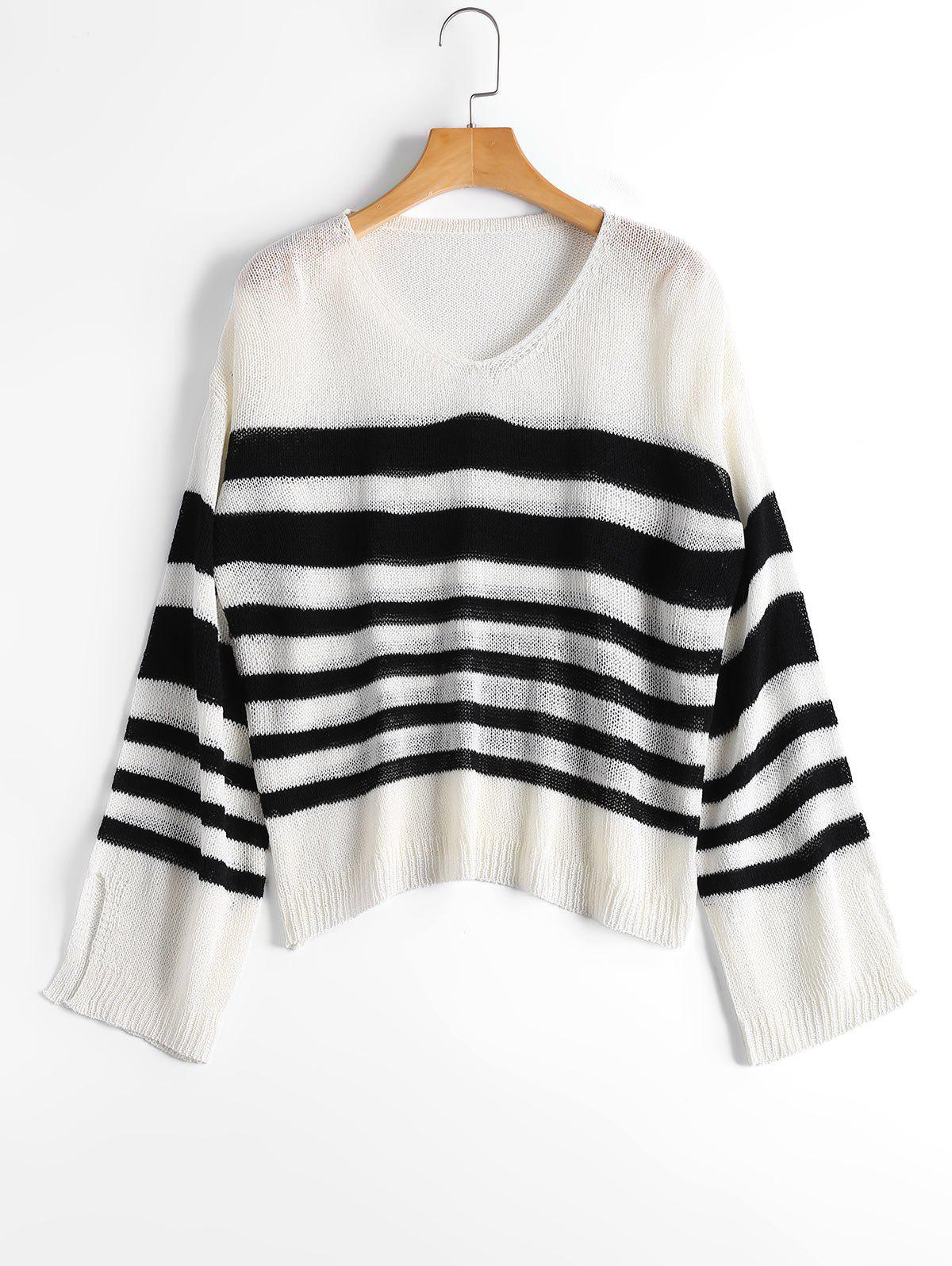 V Neck Striped Slit Sleeve Sweater - Blanc et Noir ONE SIZE