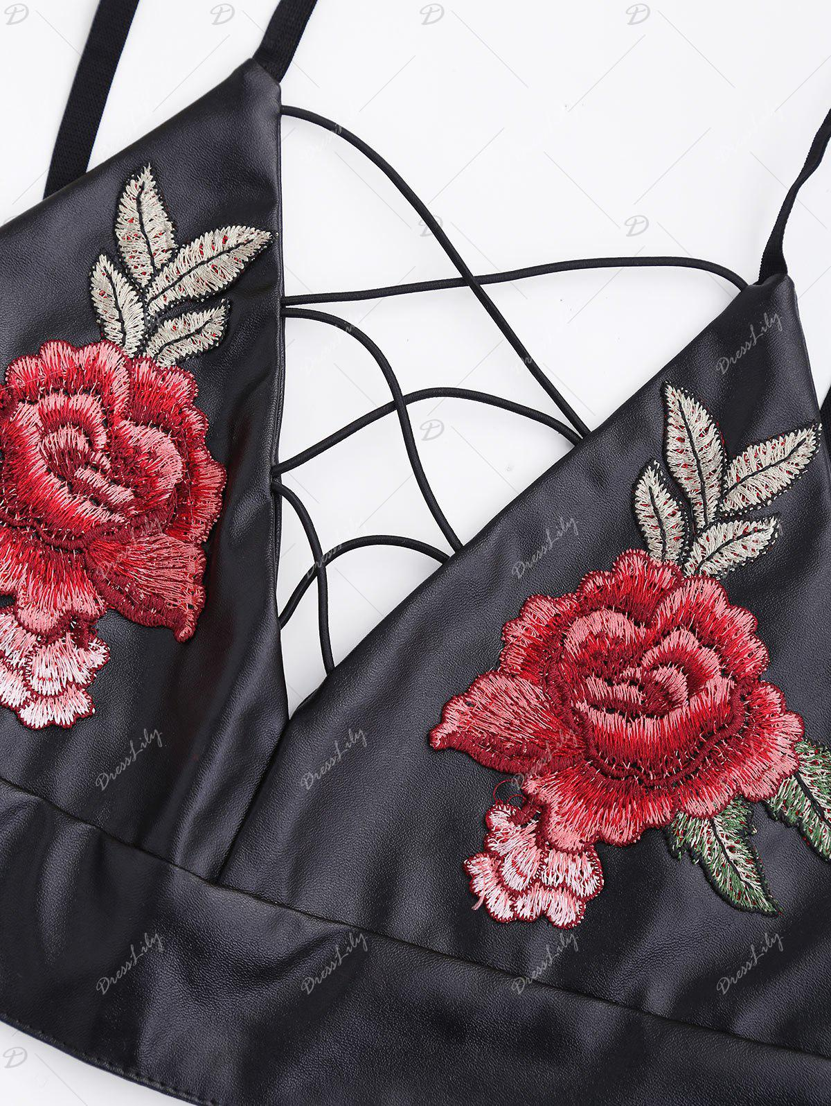 Embroidery PU Leather Criss Cross Crop Top - BLACK L