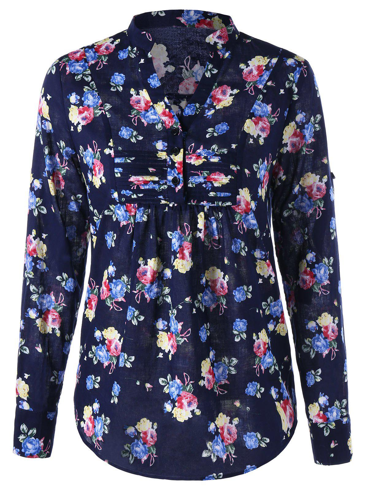 Allover Floral Split Neck Curved Shirt - Bleu Violet M