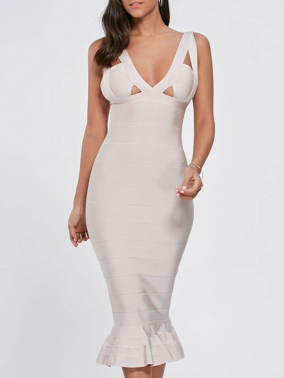 Cut Out Maxi Mermaid Bandage Dress - LIGHT BEIGE S