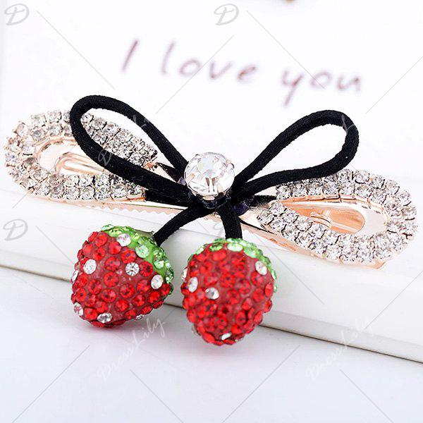 Rhinestone Bowknot Double Strawberry Barrette - RED