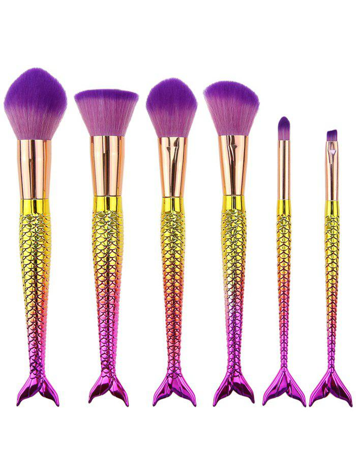 6Pcs Gradient Color Mermaid Handle Makeup Brushes - PINKISH PURPLE