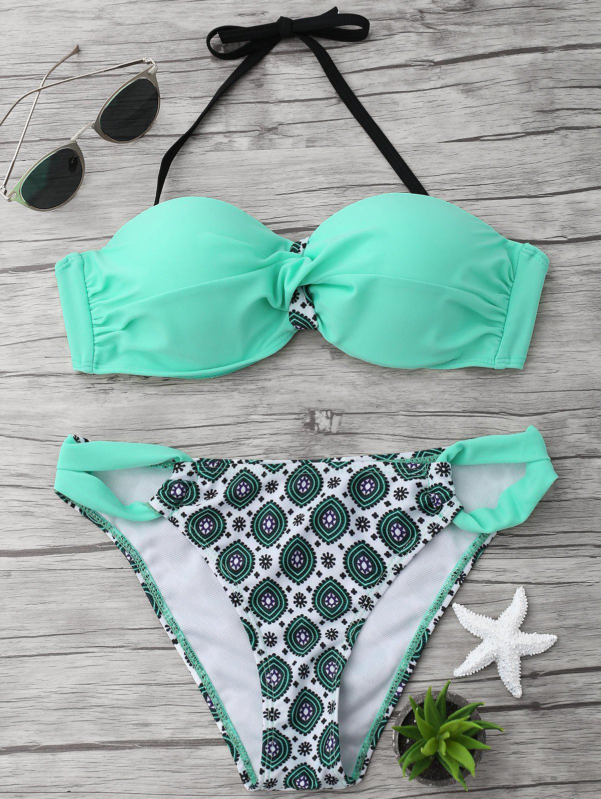 Halter Twist Printed Bikini Set - LIGHT GREEN XL