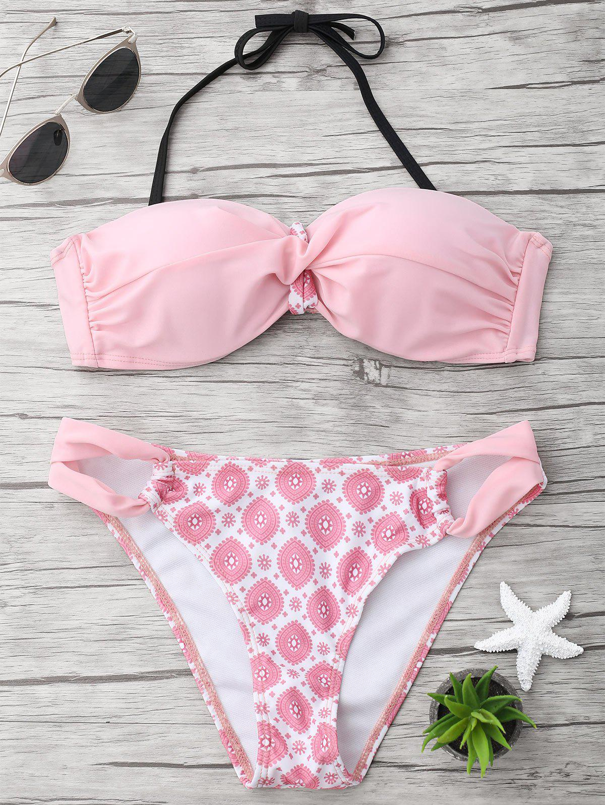 Halter Twist Printed Bikini Set - LIGHT PINK S