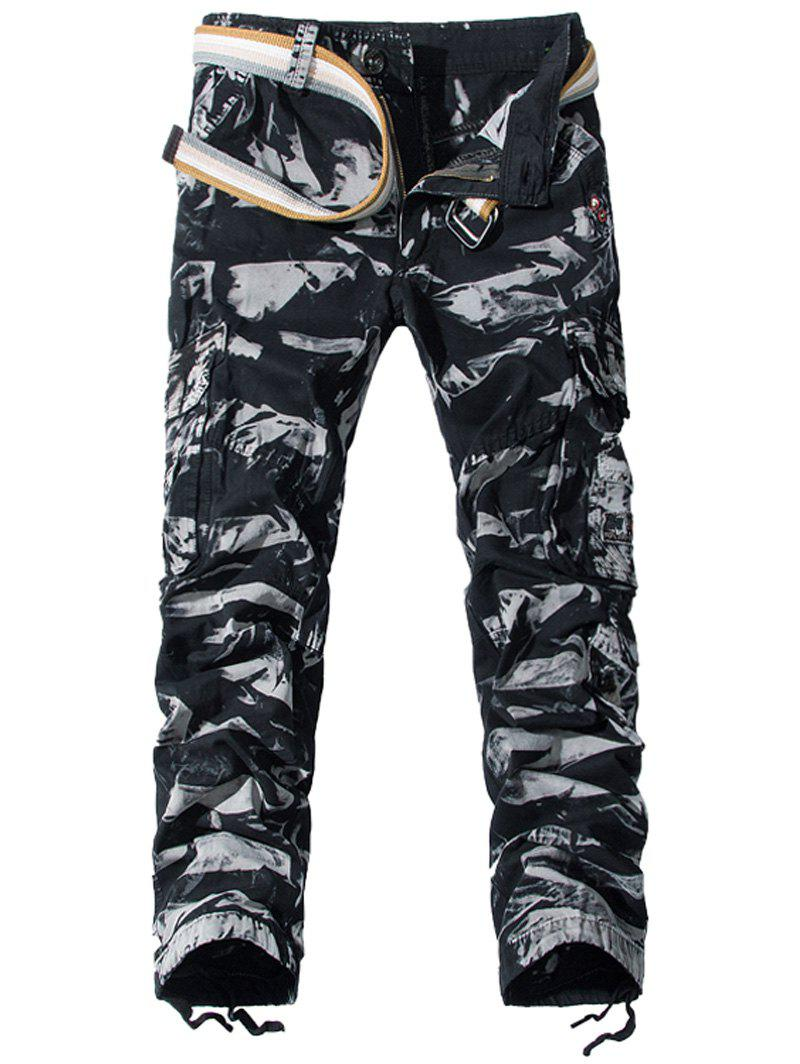 Camouflage Zipper Fly Pockets Embellished Cargo Pants - CAMOUFLAGE 30