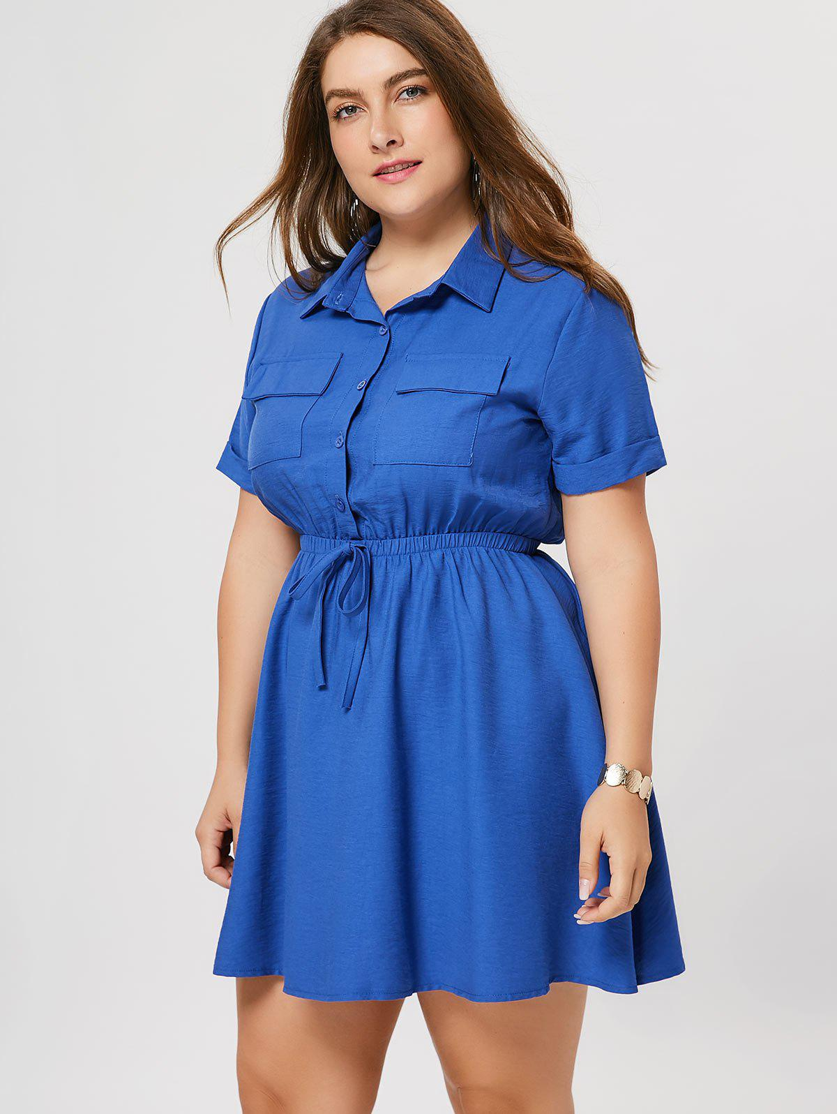 Cuffed Plus Size Shirt Dress, Blue