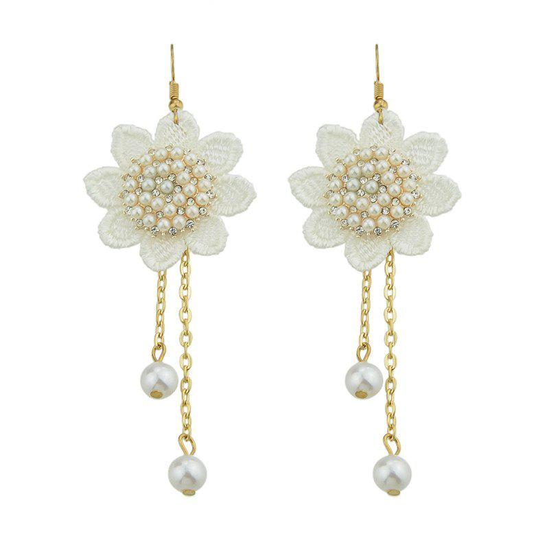 Boucles d'oreilles Faux Pearl Flower Lace Crochet Chain - Or