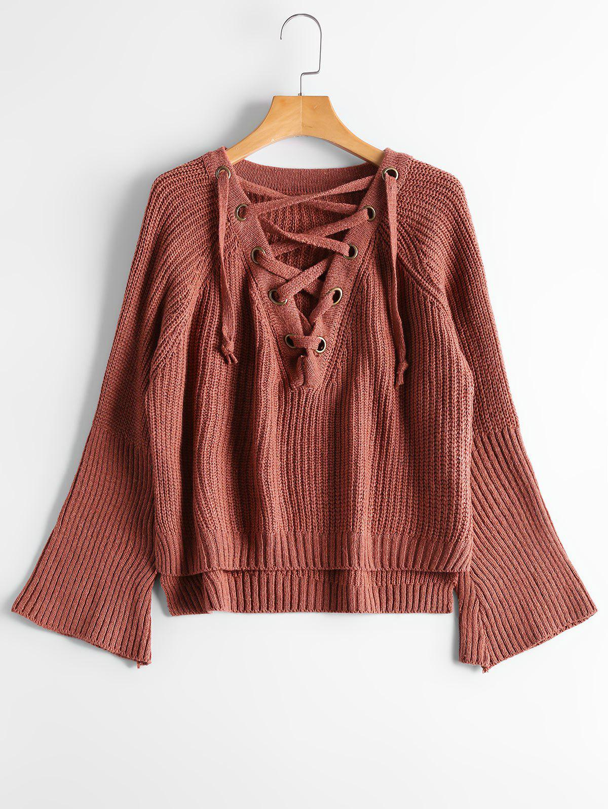 Lace Up Flare Sleeve High Low Sweater - BRICK RED ONE SIZE