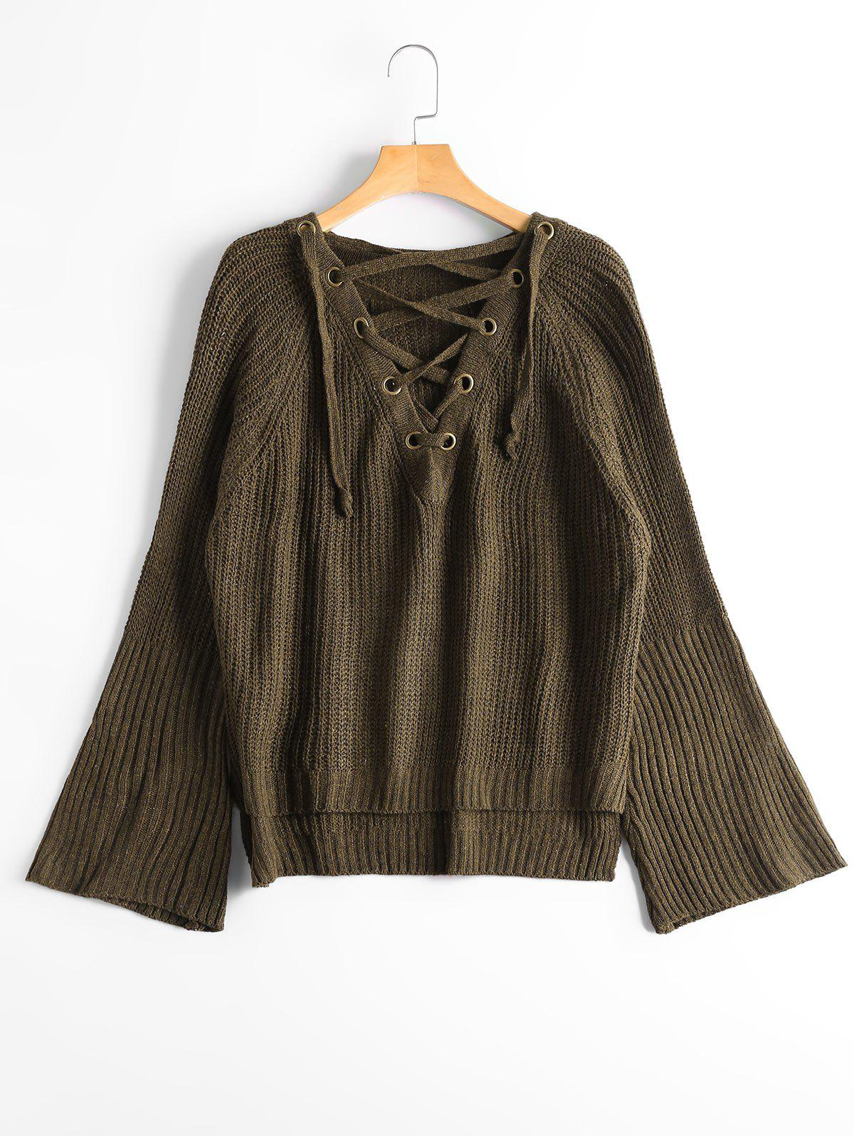 Lace Up Flare Sleeve High Low Sweater - ARMY GREEN ONE SIZE