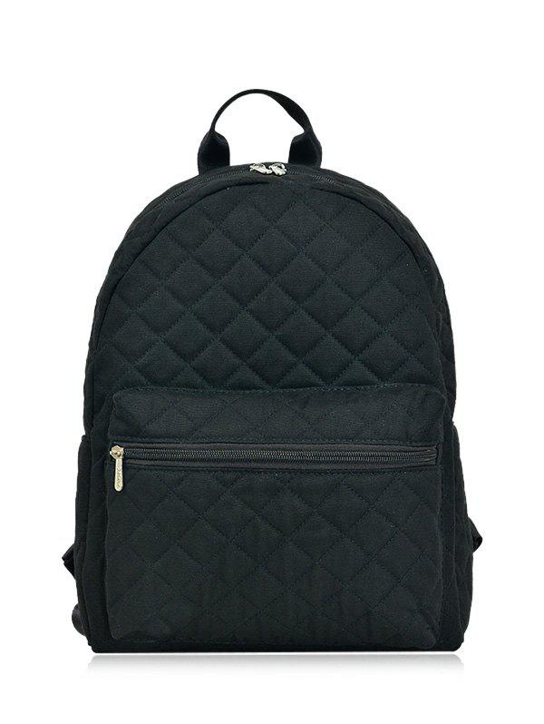 Zippers Quilted Backpack - BLACK