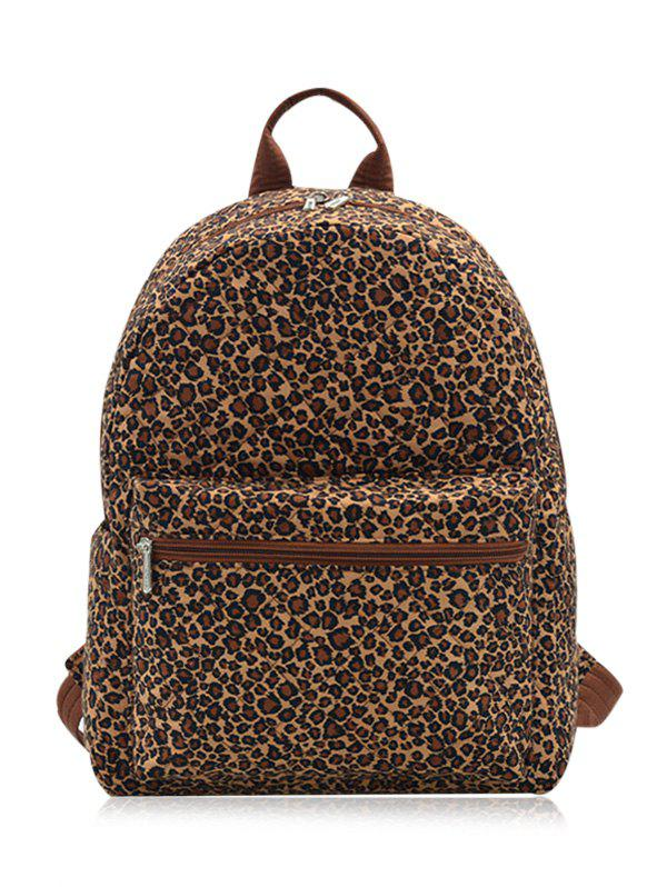 Zippers Quilted Backpack - BROWN LEOPARD