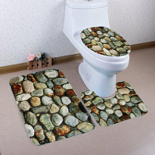 Tapis de toilette 3Pcs Soft Absorbent Nature Stone - multicolorcolore