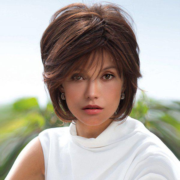 Short incliné Bang Layered Straight Highlight Perruques synthétiques - multicolorcolore