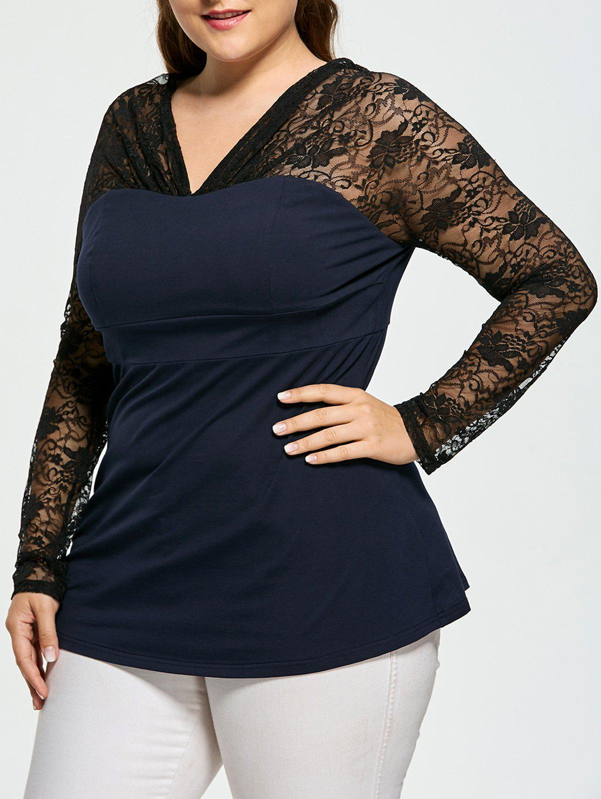 Lace Panel Sheer Plus Size V-neck Top - BLACK 4XL