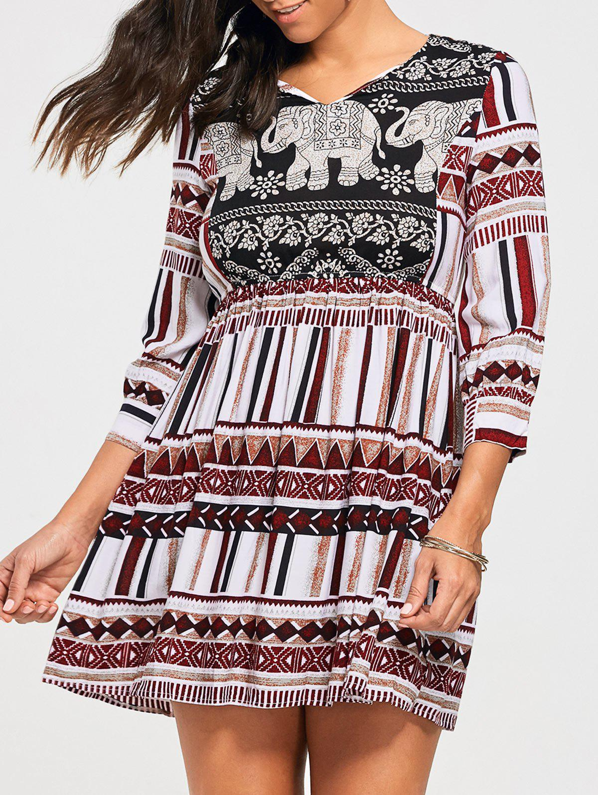 Bohemia Elephant Print Empire Waisted Tunic Dress - multicolorcolore 2XL