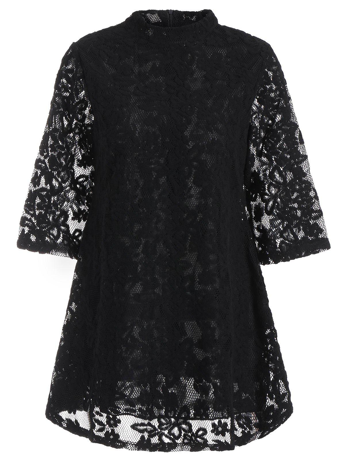 Mock Neck Overlay Min Lace Dress - BLACK M