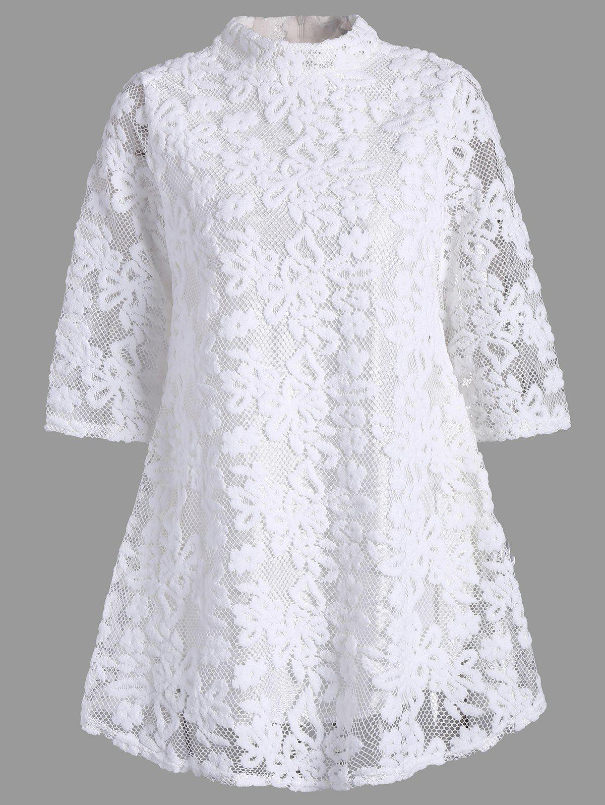 Mock Neck Overlay Min Lace Dress - Blanc S