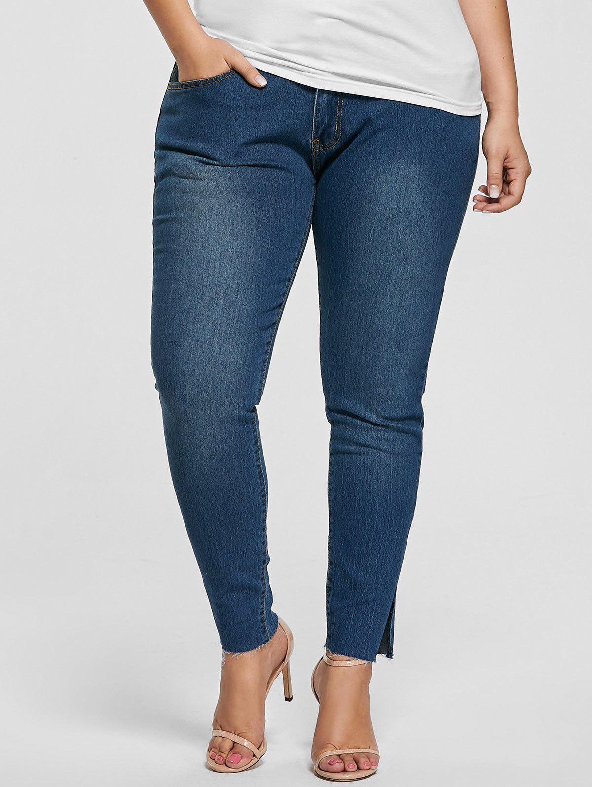 Plus Size Ankle Length Skinny Jeans - DENIM BLUE 2XL
