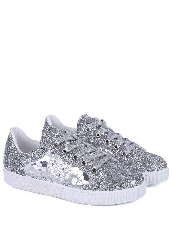 Tie Up Sequins Flat Shoes - Argent 38