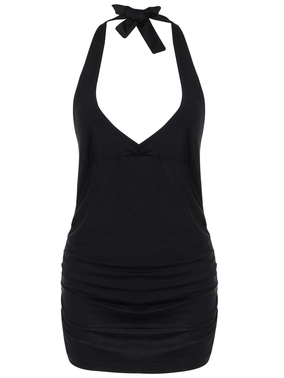 Halter Low Cut Backless Camisole - BLACK XL
