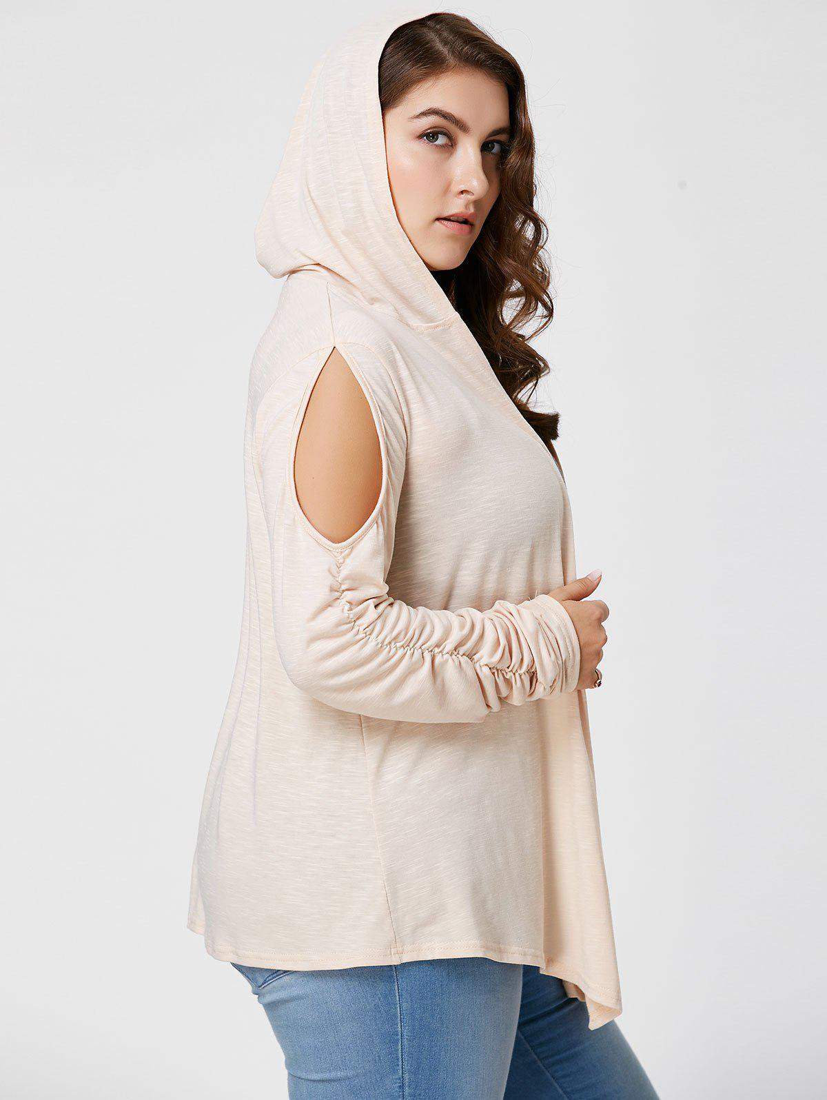 Plus Size Long Sleeve Cold Shoulder Hooded Cardigan - APRICOT 3XL