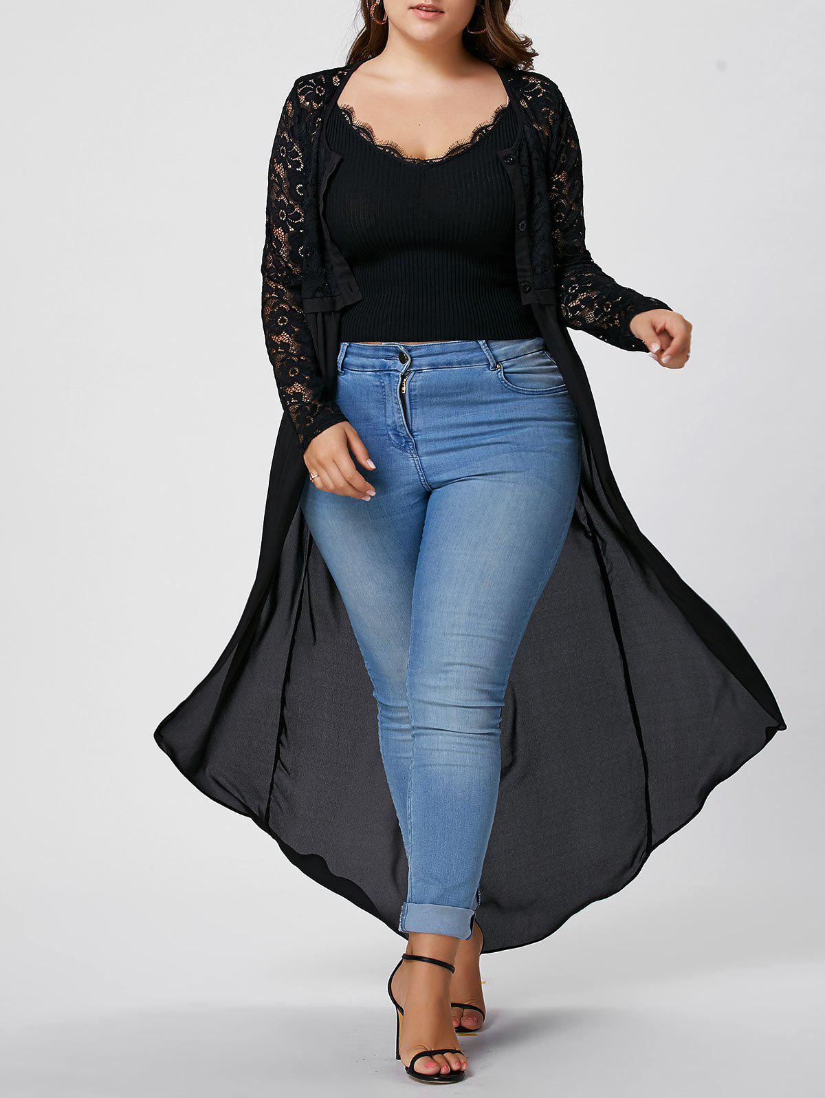 Plus Size Sheer Lace Chiffon Long Front Slit Top plus size sheer lace trim ruched top