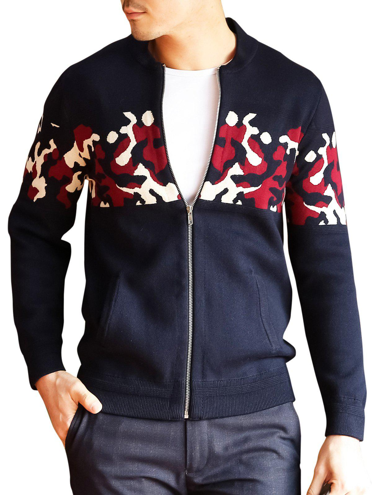 Cardigan Zipper Up Camo - Bleu Violet 2XL