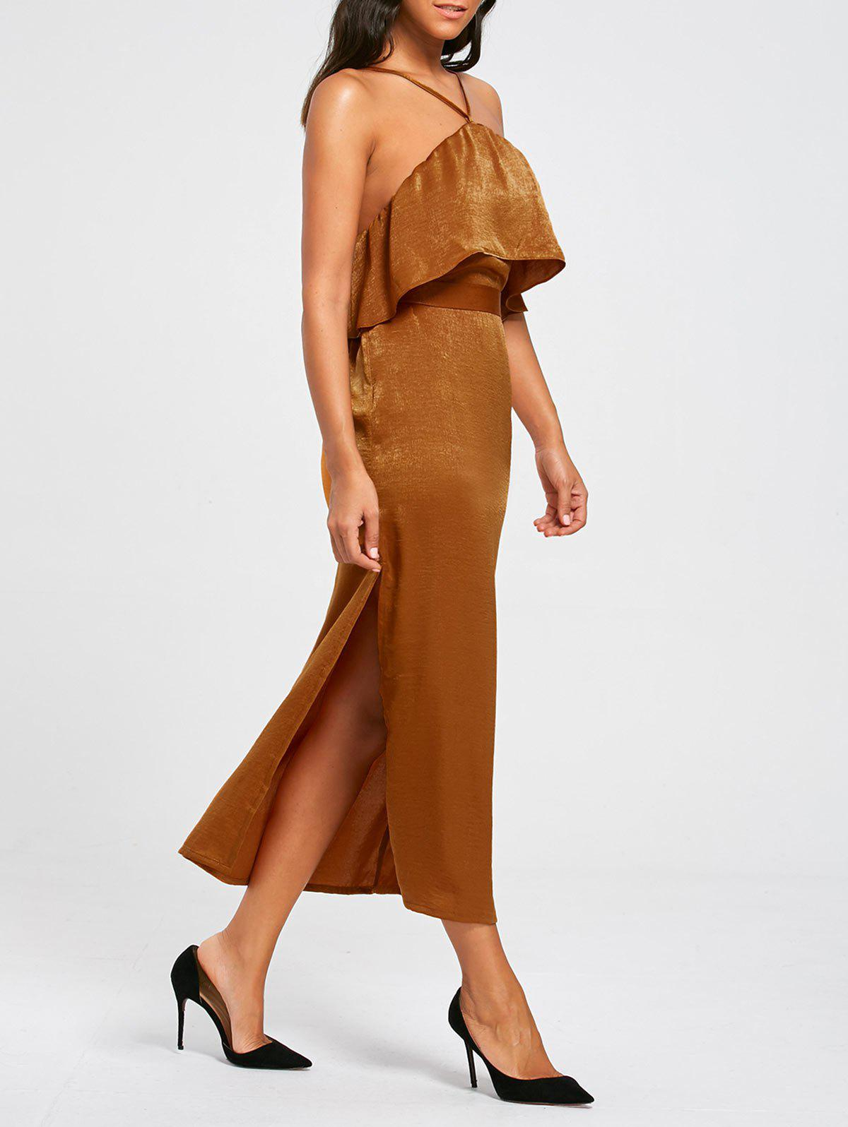 High Slit Long Sleeveless Bodycon Popover Dress - BROWN XL
