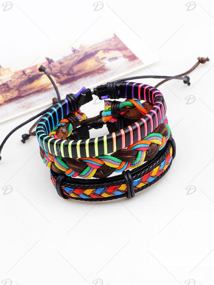Layered Multicolor Artificial Leather Woven Bracelets - COLORFUL