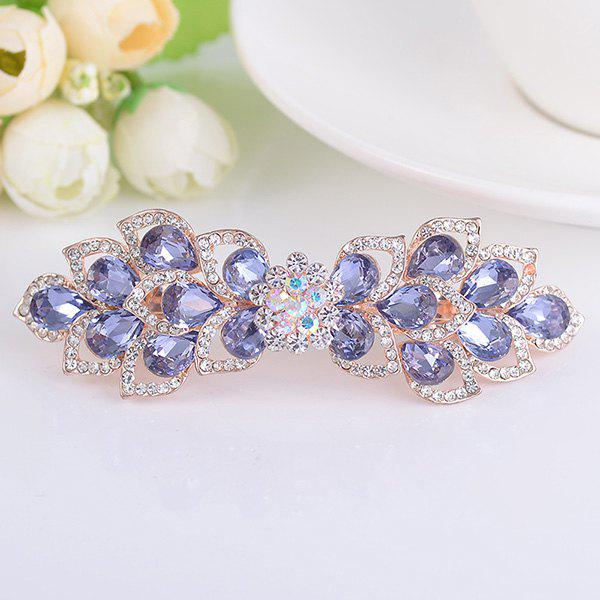 Rinestone Inlay Hollow Out Flower Shape Barrette - PURPLE