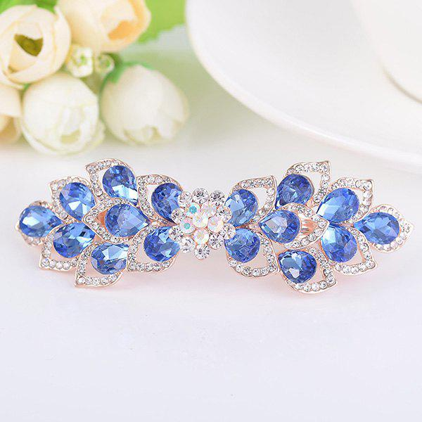 Rinestone Inlay Hollow Out Flower Shape Barrette - BLUE