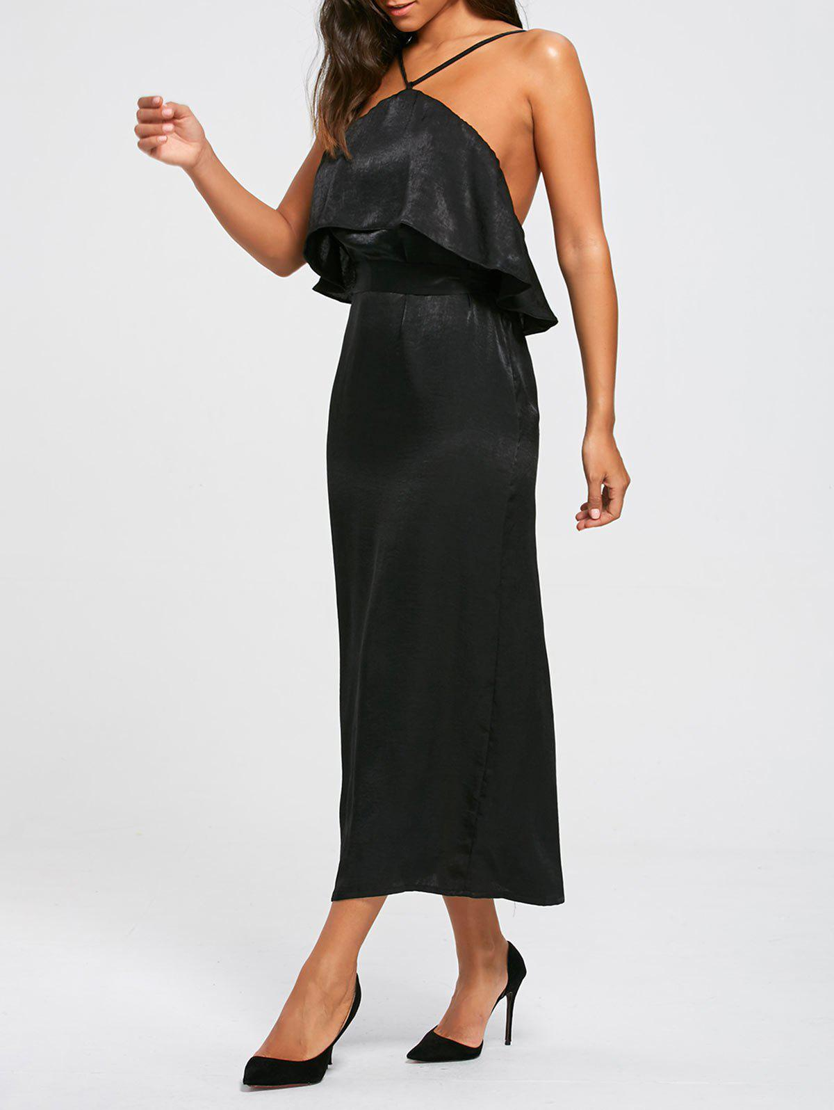 High Slit Long Sleeveless Bodycon Popover Dress - BLACK L
